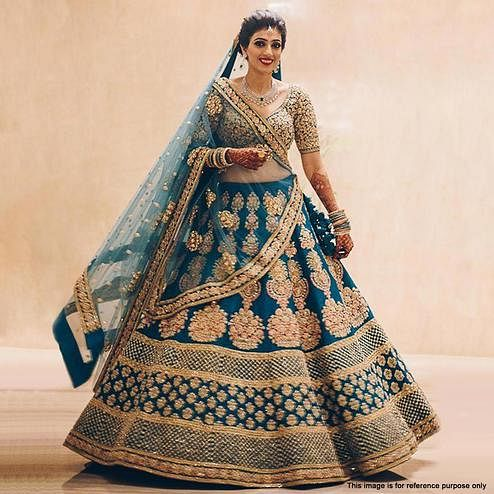 Gleaming Blue Colored Partywear Embroidered Raw Silk Lehenga Choli