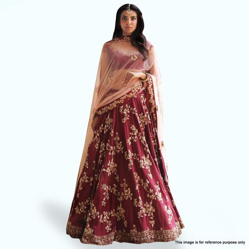 Mesmeric Maroon Colored Partywear Embroidered Tapeta Silk Lehenga Choli