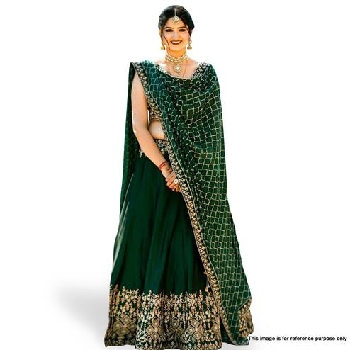 Demanding Dark Green Colored Partywear Embroidered Tapeta Silk Lehenga Choli