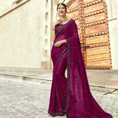 Impressive Dark Purple Colored Partywear Embroidered Silk Saree