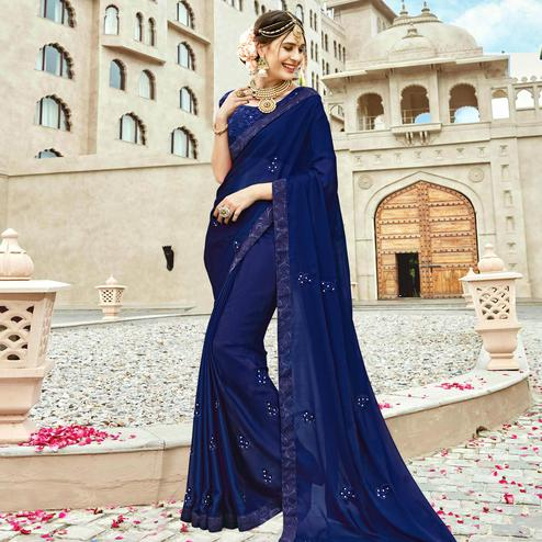 Mesmerising Navy Blue Colored Partywear Embroidered Silk Saree