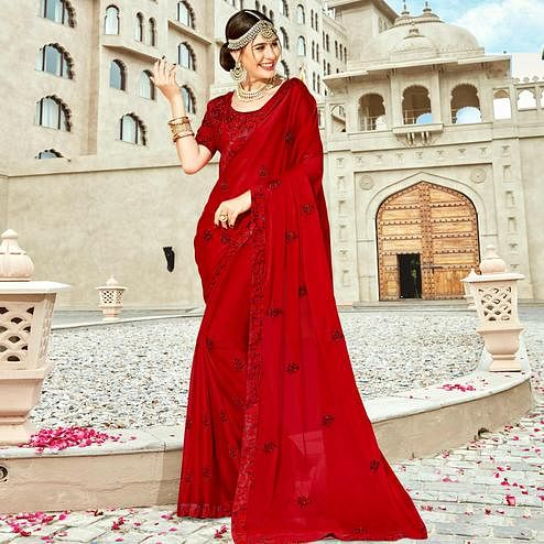 Breathtaking Red Colored Partywear Embroidered Silk Saree