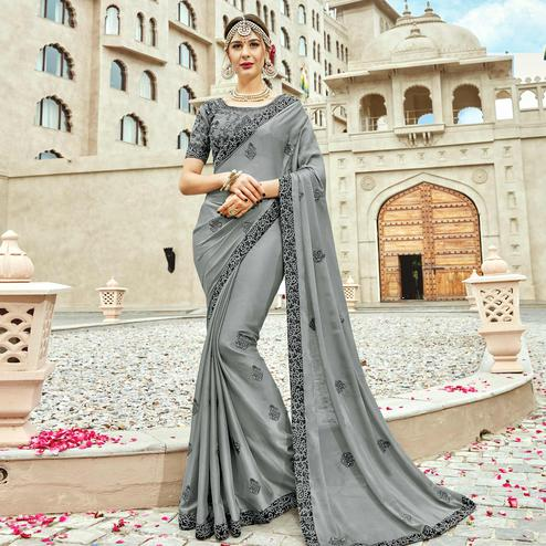 Surpassing Gray Colored Partywear Embroidered Silk Saree