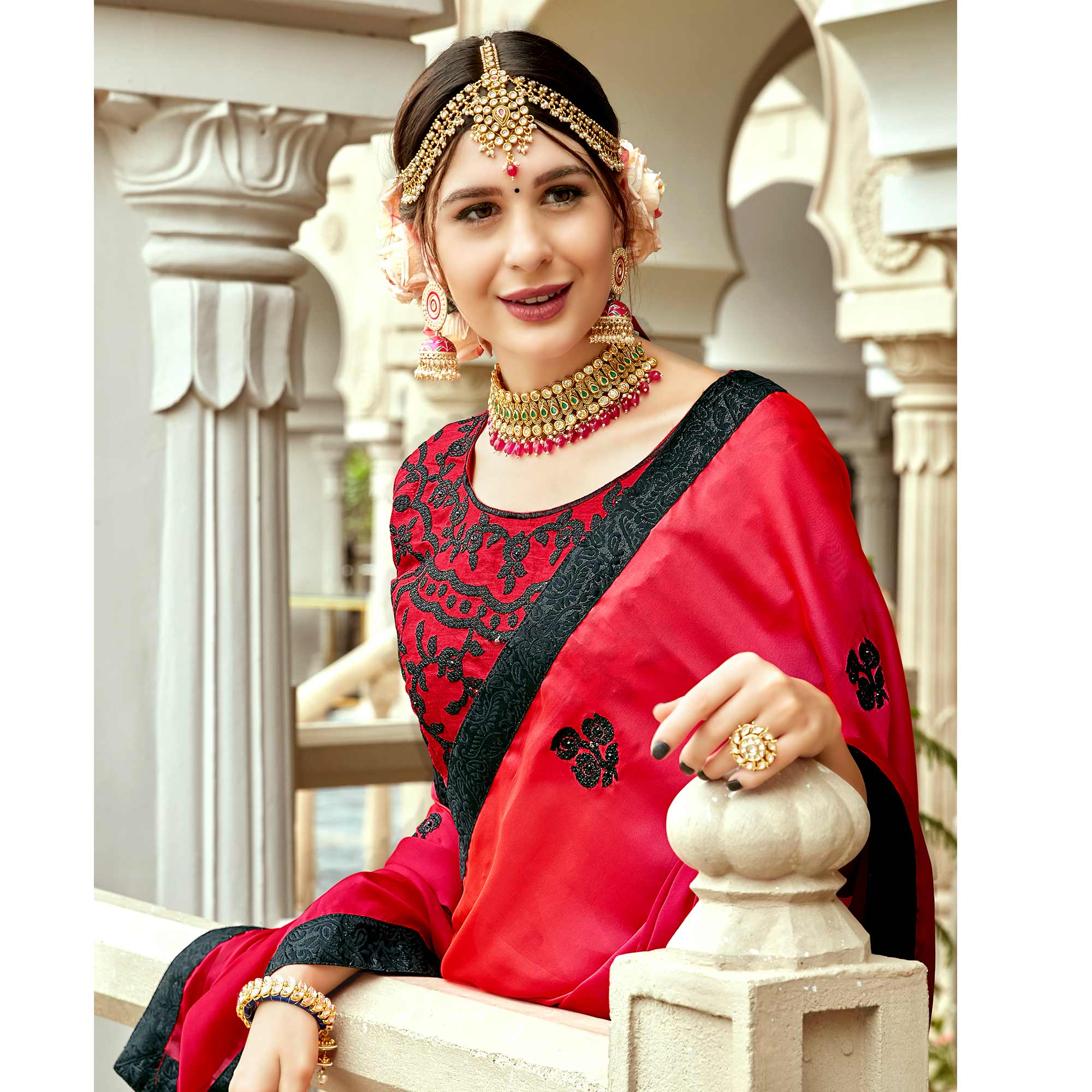 Ravishing Red Colored Partywear Embroidered Silk Saree
