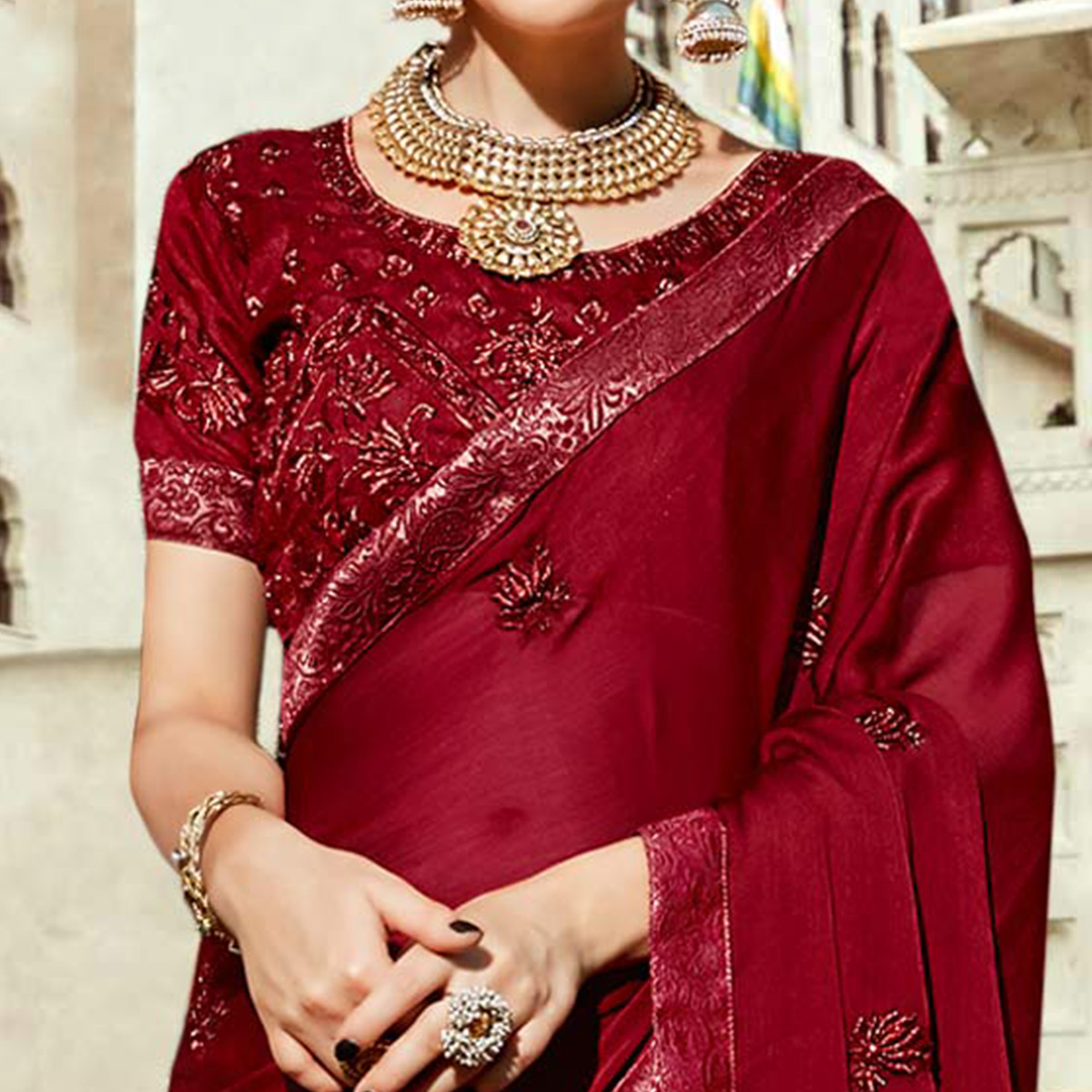 Dazzling Maroon Colored Partywear Embroidered Silk Saree