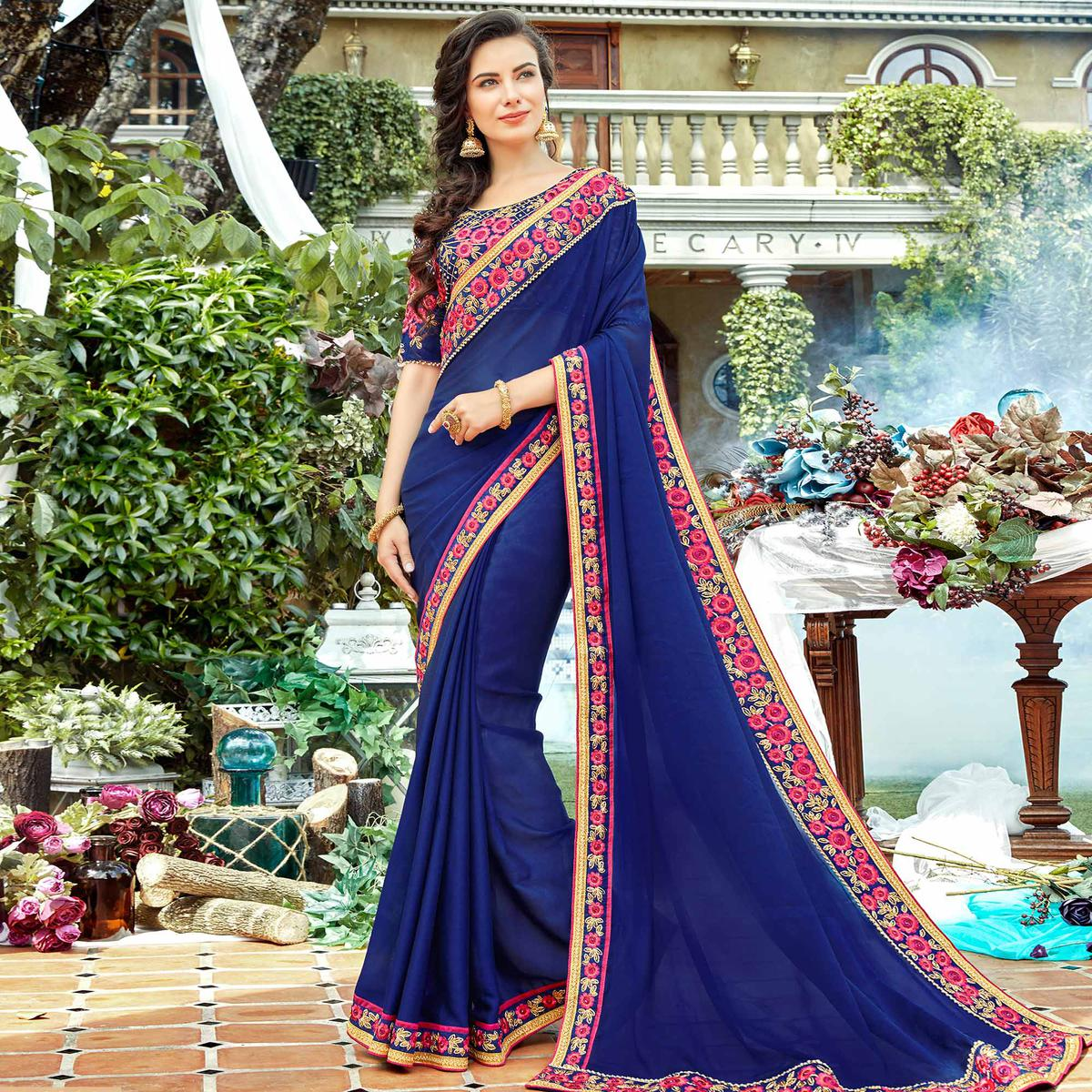 Flamboyant Navy Blue Colored Partywear Embroidered Georgette-Silk Saree