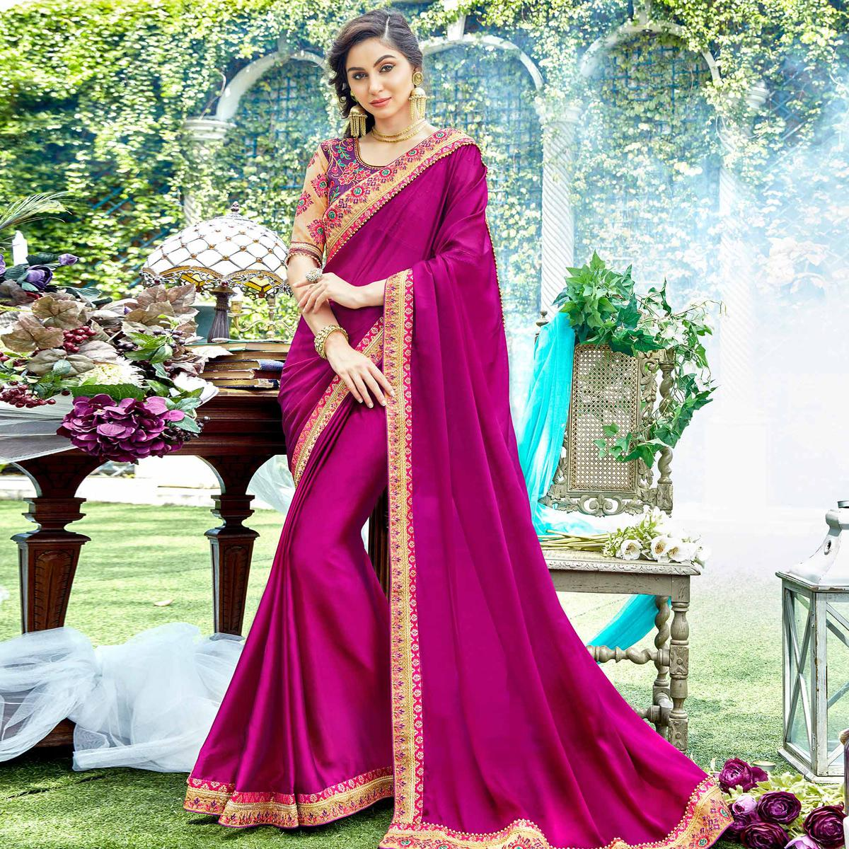 Pretty Magenta Pink Colored Partywear Embroidered Georgette-Silk Saree