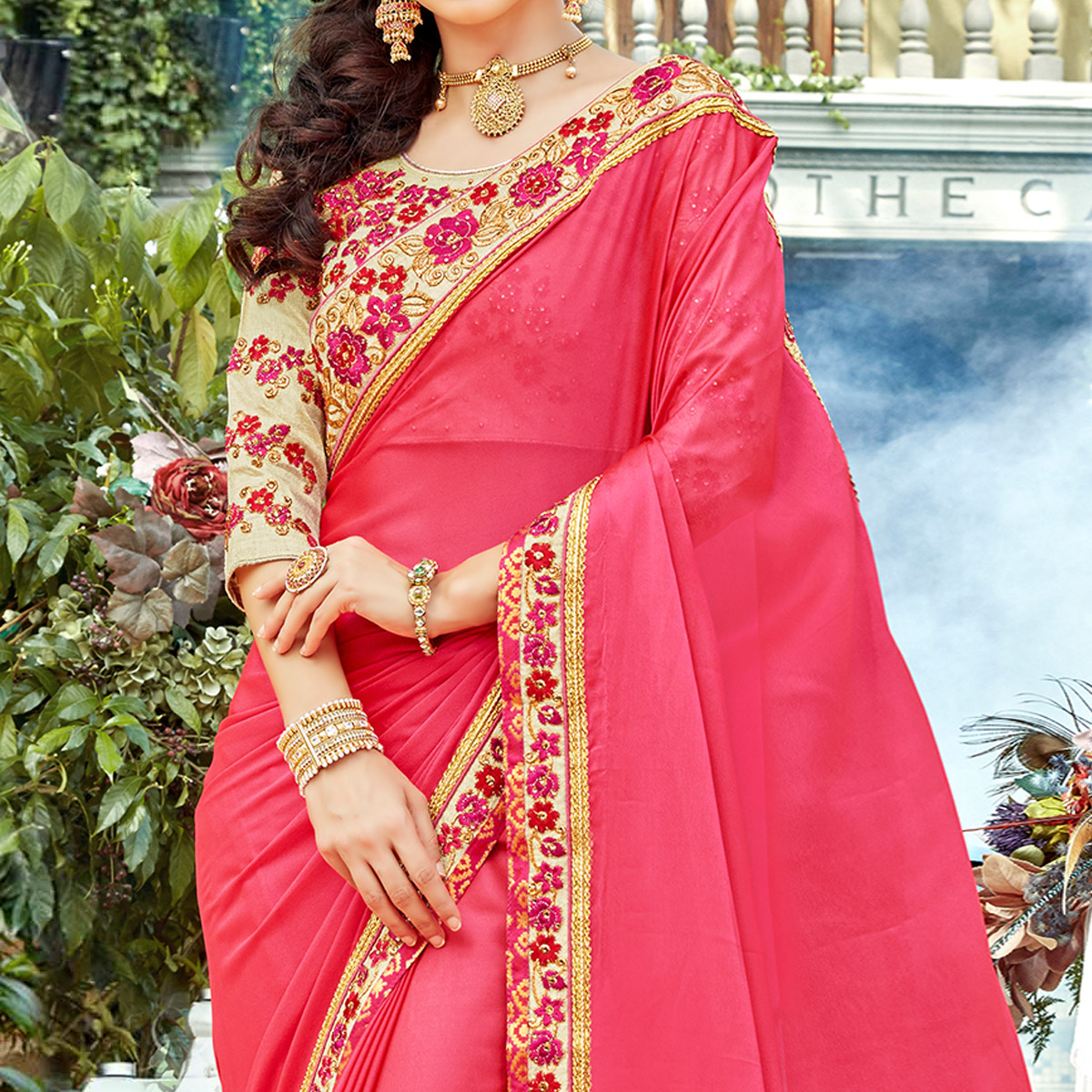 Sensational Pink Colored Partywear Embroidered Georgette-Silk Saree