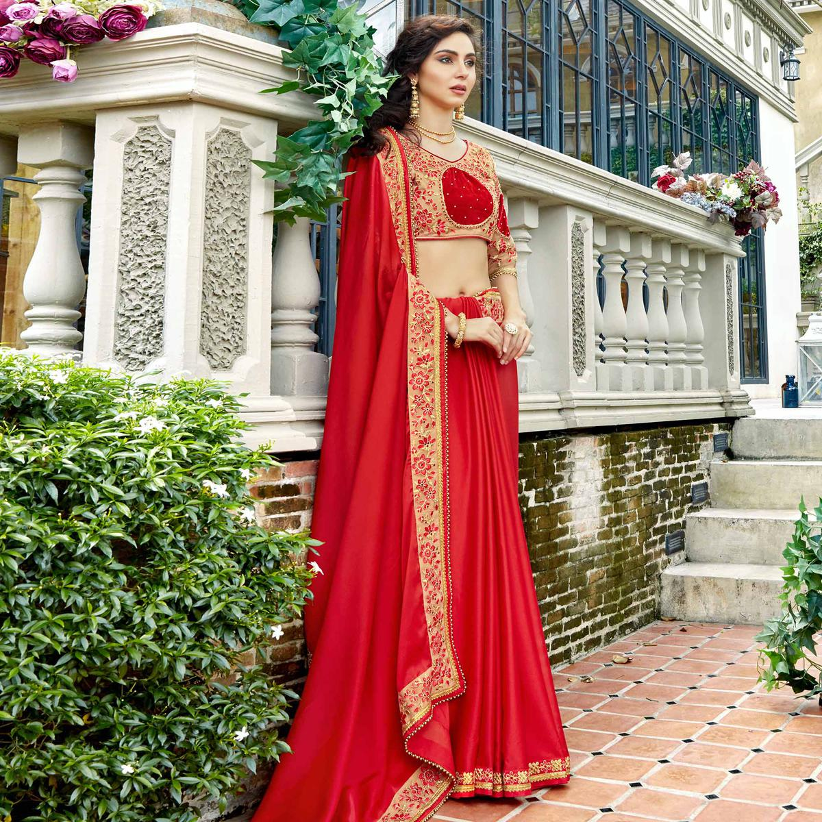 Marvellous Red Colored Partywear Embroidered Georgette-Silk Saree