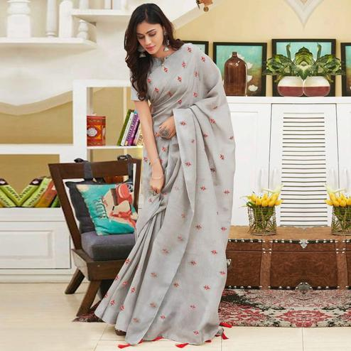Radiant Gray Colored Partywear Embroidered Linen Saree