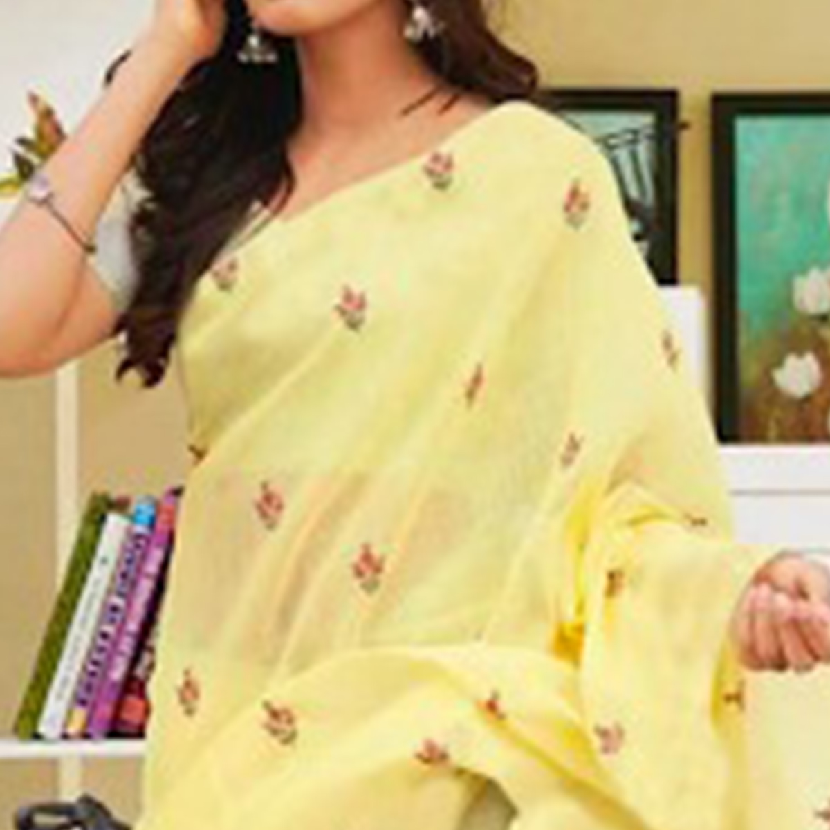 Energetic Yellow Colored Partywear Embroidered Linen Saree