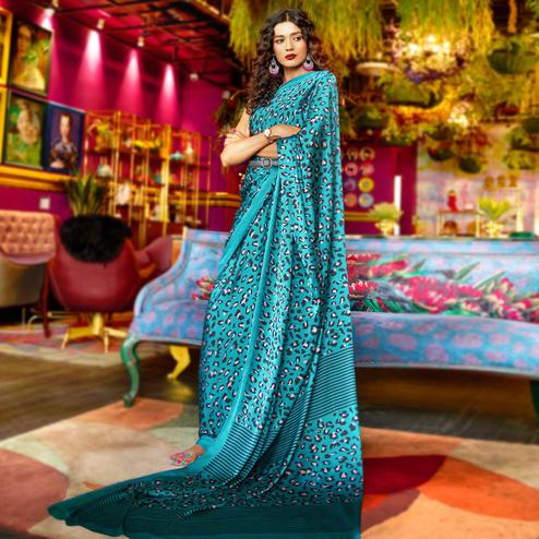 Charming Sky Blue Colored Casual Printed Crepe-Satin Saree