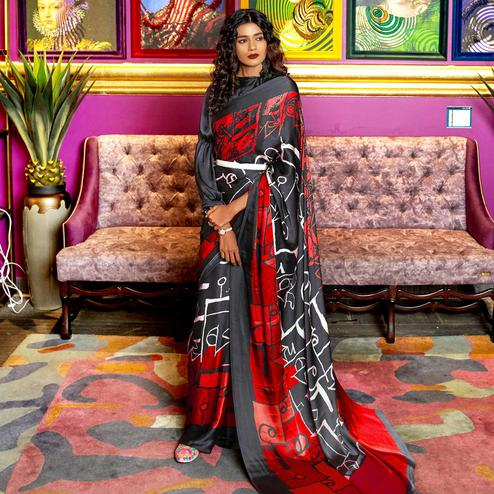 Delightful Black-Red Colored Casual Printed Crepe-Satin Saree