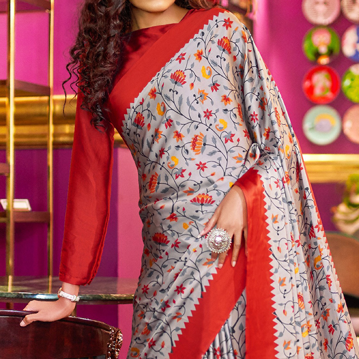 Engrossing Gray-Red Colored Casual Printed Crepe-Satin Saree