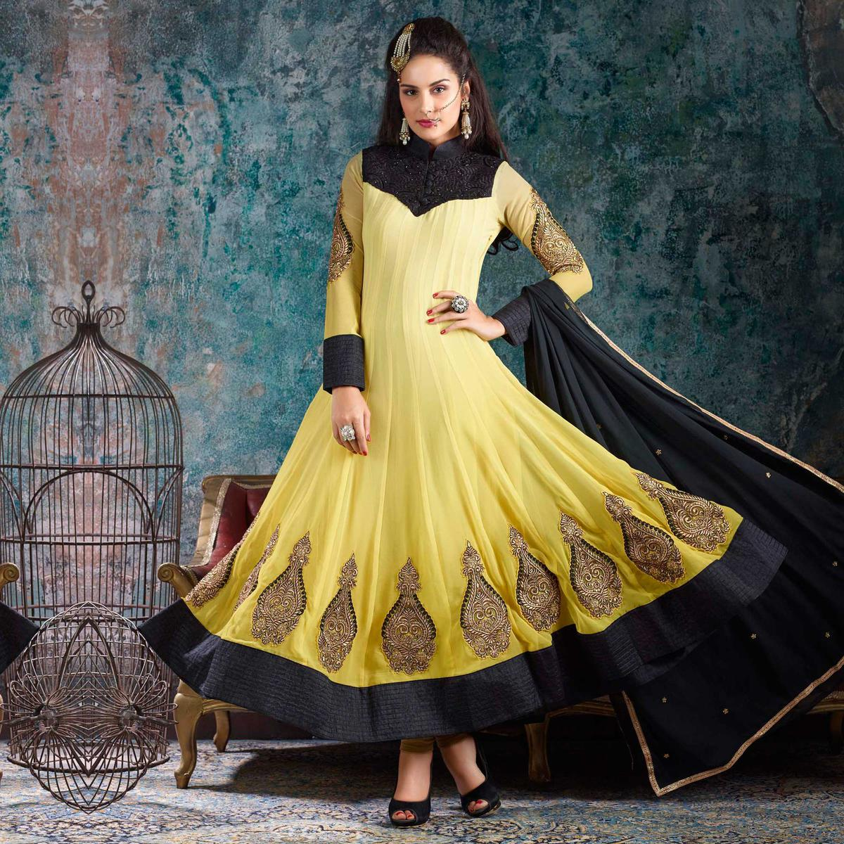 Yellow Embroidered Work Anarkali Salwar Kameez