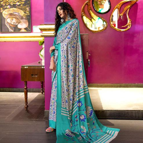Captivating Gray-Blue Colored Casual Printed Crepe-Satin Saree