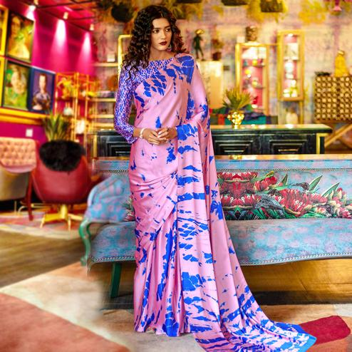 Innovative Pink Colored Casual Printed Crepe-Satin Saree