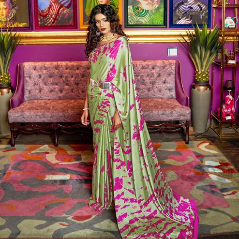 Eye-catching Green Colored Casual Printed Crepe-Satin Saree