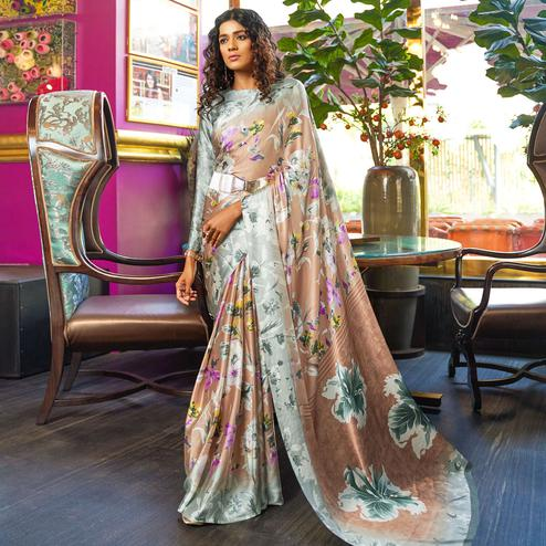 Fantastic Brown Colored Casual Printed Crepe-Satin Saree
