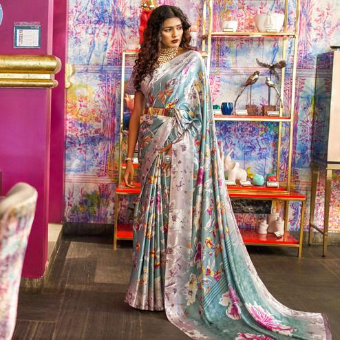Amazing Blue Colored Casual Printed Crepe-Satin Saree