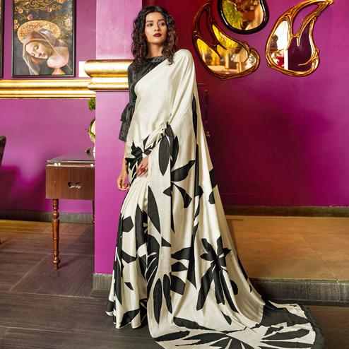 Gorgeous Cream Colored Casual Printed Crepe-Satin Saree