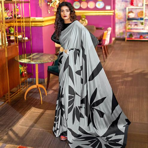 Blissful Light Gray Colored Casual Printed Crepe-Satin Saree