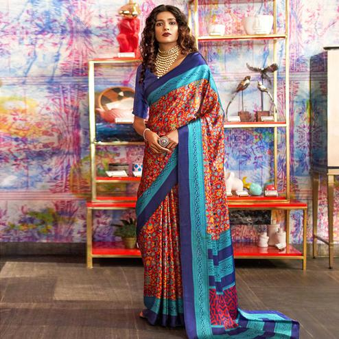 Ideal Red Colored Casual Printed Crepe-Satin Saree