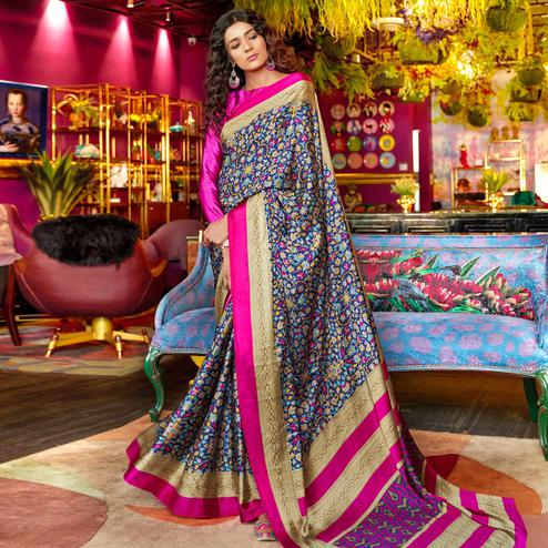 Imposing Blue Colored Casual Printed Crepe-Satin Saree