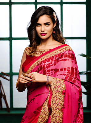 Red - Golden Reception Wear Embroidered Saree