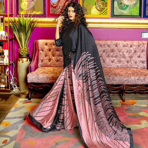 Majesty Black-Pink Colored Casual Printed Crepe-Satin Saree