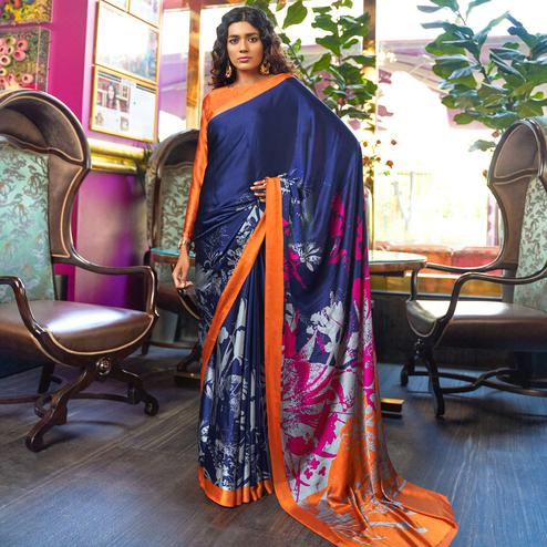 Impressive Navy Blue-Orange Colored Casual Printed Crepe-Satin Saree