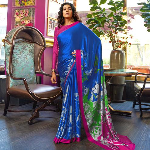 Mesmerising Navy Blue-Pink Colored Casual Printed Crepe-Satin Saree
