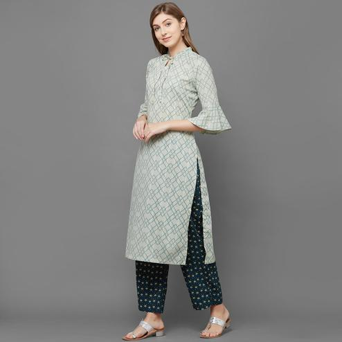 Classy Green Colored Casual Printed Cotton Kurti-Palazzo Set