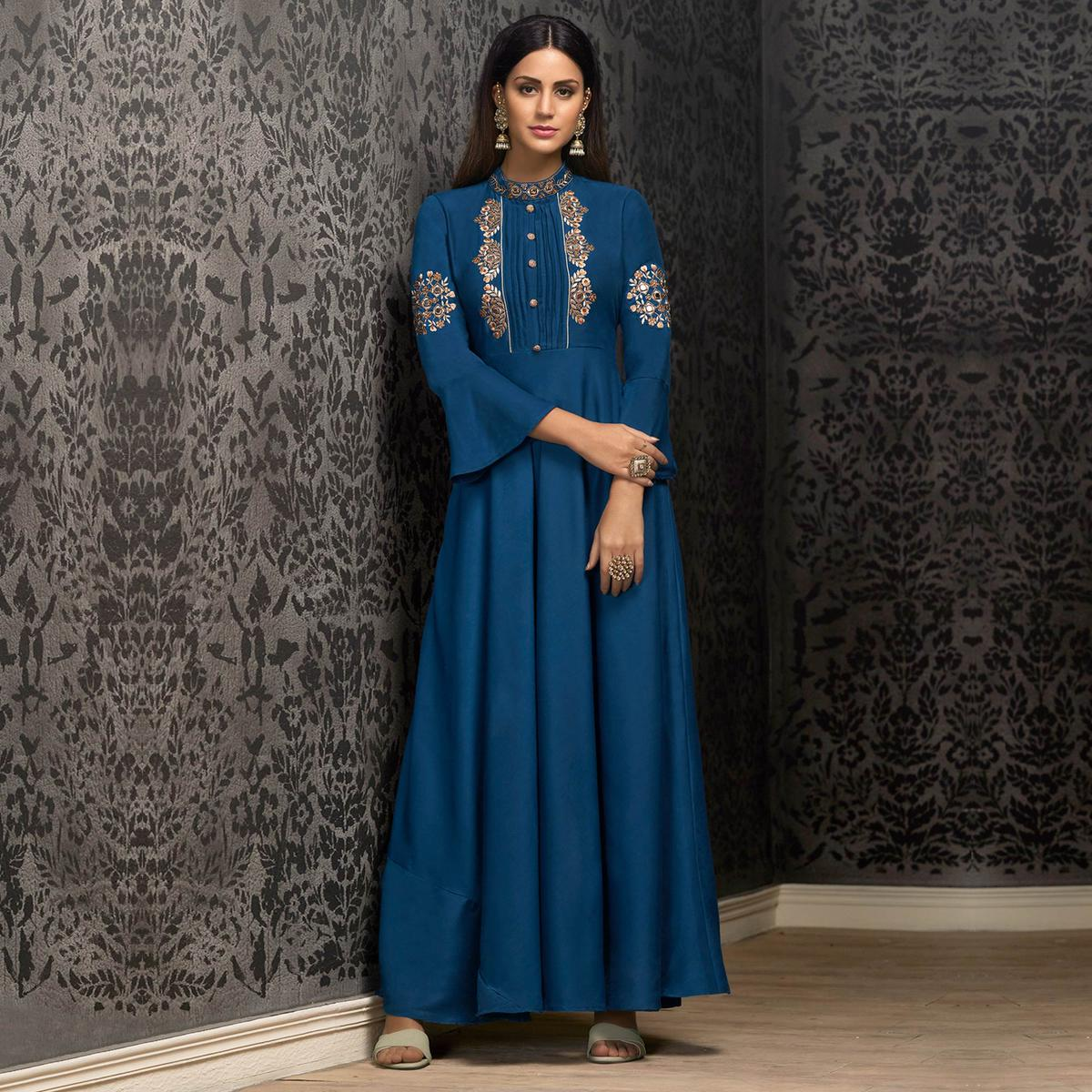 Pleasant Blue Colored Partywear Embroidered Cotton Gown