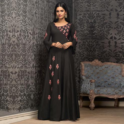 Opulent Black Colored Partywear Embroidered Cotton Gown