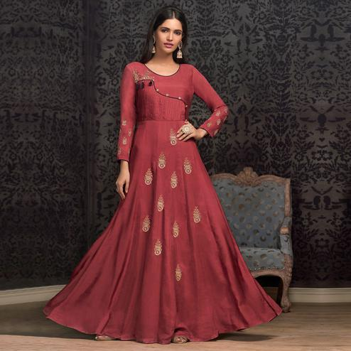 Energetic Red Colored Partywear Embroidered Cotton Gown
