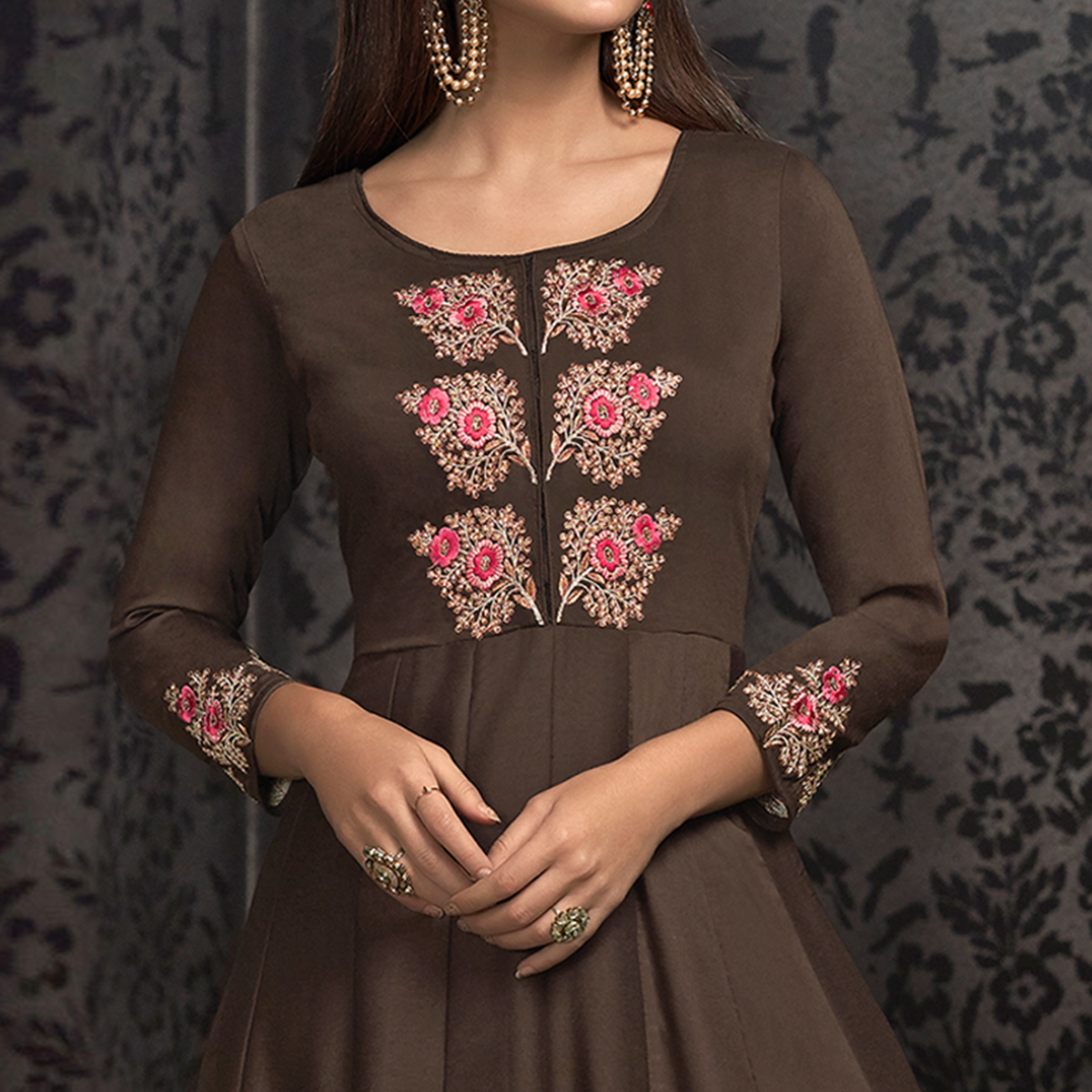 Glowing Brown Colored Partywear Embroidered Cotton Gown