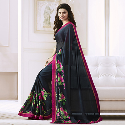 Black Saree with Pink Lace Border