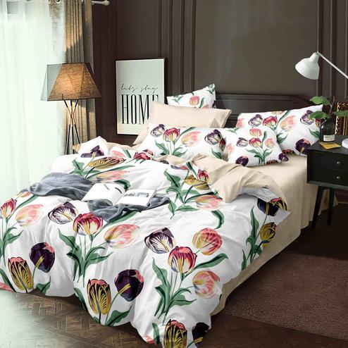 Flaunt White Colored Printed Queen Sized Bed Sheet With 2 Pillow Covers