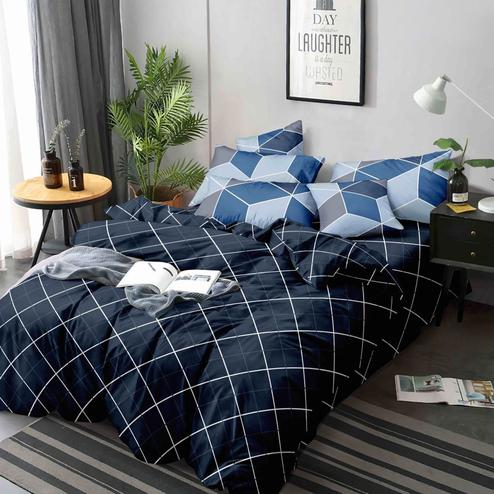 Classy Navy Blue Colored Printed Queen Sized Bed Sheet With 2 Pillow Covers