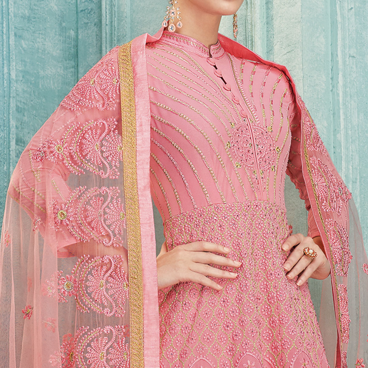 Marvellous Pink Colored Partywear Lucknowi Embroidered Faux Georgette Anarkali Suit