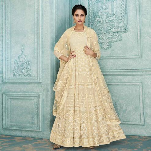 Fantastic Cream Colored Partywear Lucknowi Embroidered Faux Georgette Anarkali Suit
