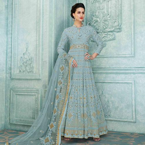 Stunning Slate Blue Colored Partywear Lucknowi Embroidered Faux Georgette Anarkali Suit