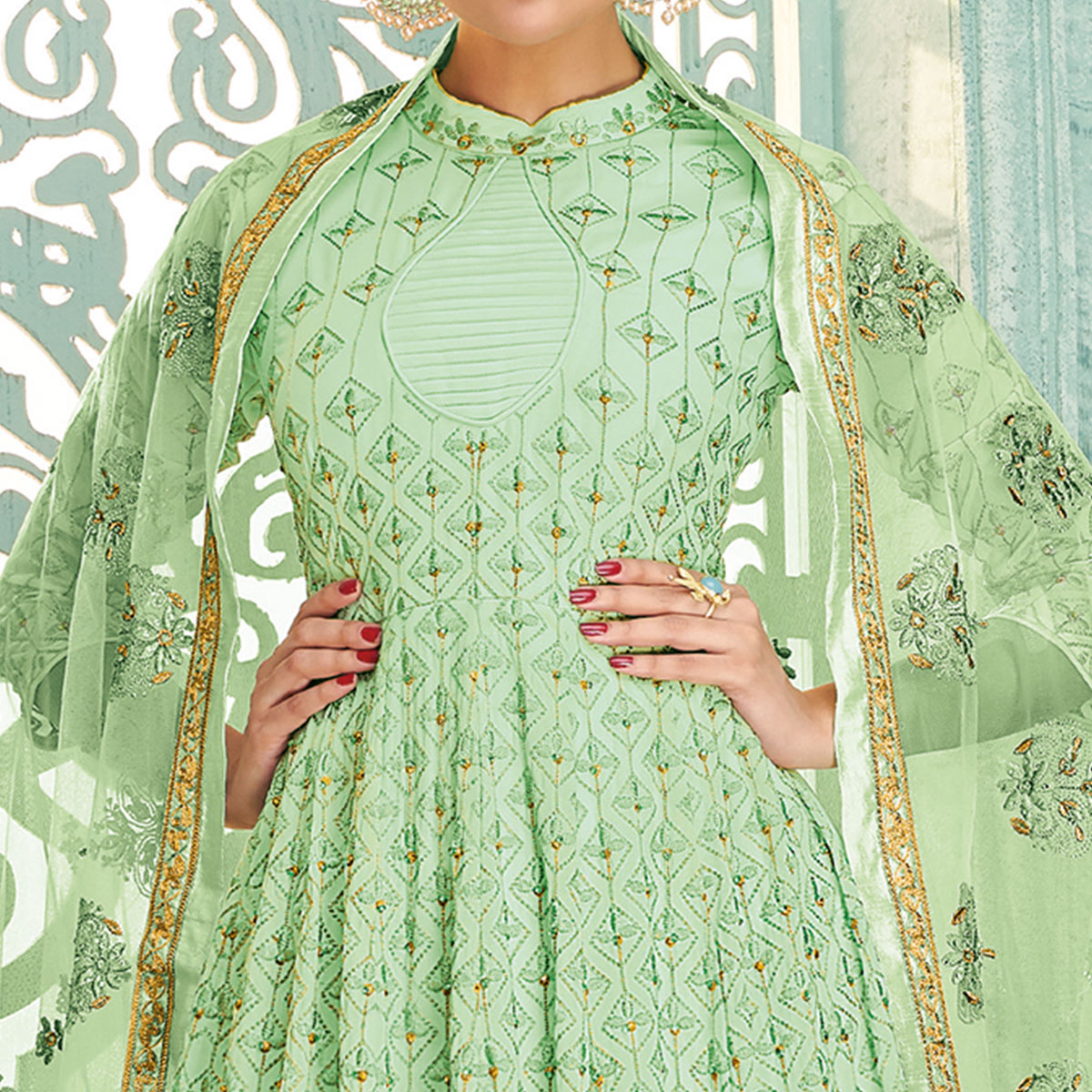 Sophisticated Pista Green Colored Partywear Lucknowi Embroidered Faux Georgette Anarkali Suit