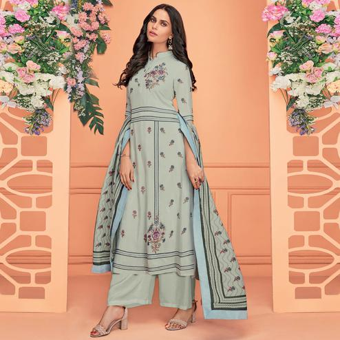 Arresting Teal Grey Colored Partywear Printed Viscose Muslin Palazzo Suit