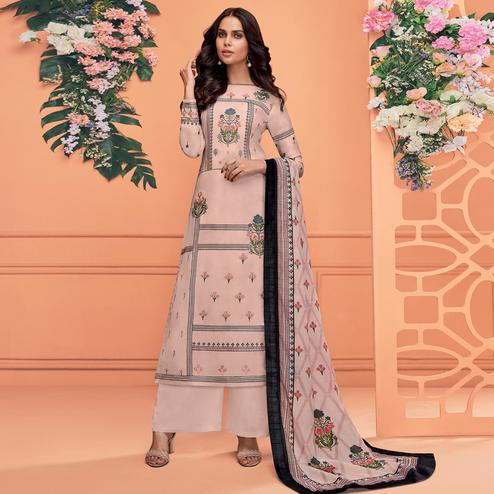 Desirable Pink Colored Partywear Printed Viscose Muslin Palazzo Suit