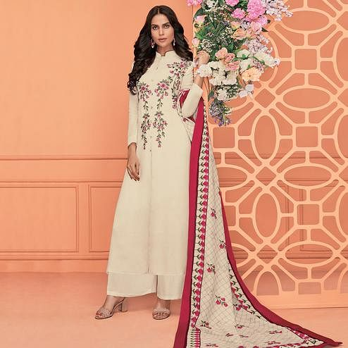 Exotic Off-White Colored Partywear Printed Viscose Muslin Palazzo Suit