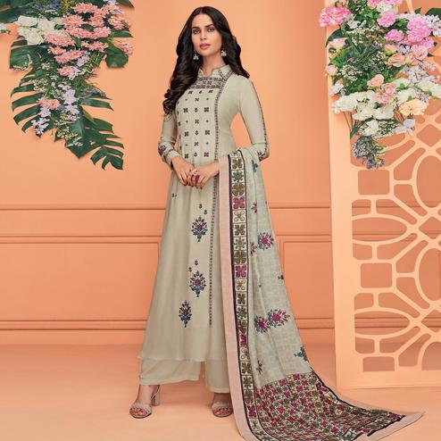 Trendy Grey Colored Partywear Printed Viscose Muslin Palazzo Suit