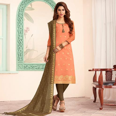 Exceptional Peach Colored Festive Wear Woven Banarasi Silk Dress Material