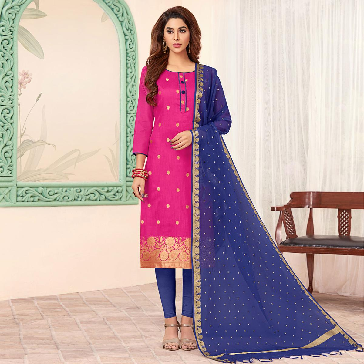Gleaming Rani Pink Colored Festive Wear Woven Banarasi Silk Dress Material